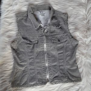 Vintage NY Jeans Checkered Zip Up Vest L